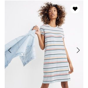 Madewell Tee Dress Stripe Alchester M Green Blue